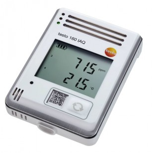 testo 160 IAQ - rádiový záznamník dat s displejem a integrovanými senzory pro teploty, vlhkost, CO2 a atmosférický tlak